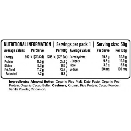 Nutrition Facts For 1x Veego Plant Protein Bar