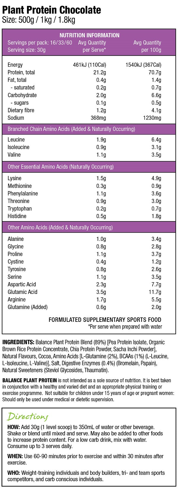 Nutrition Facts For Balance Plant Protein 500g