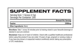 Nutrition Facts For Platinum Labs Taurine 200 Serve