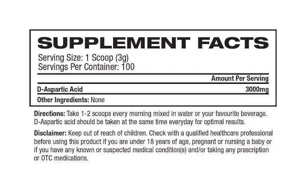 Nutrition Facts For Platinum Labs D Aspartic Acid