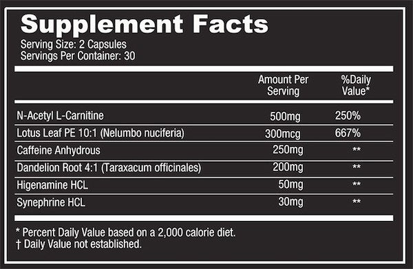 Nutrition Facts For Platinum Labs Opti Burn Amped 60 Caps