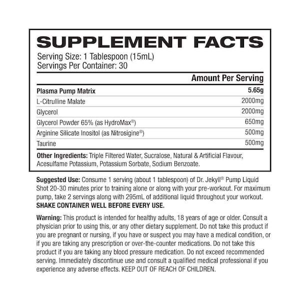 Nutrition Facts For Pro Supps Dr Jekyll Liquid Pump 30 Serve