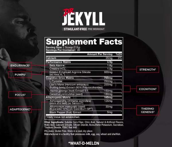 Nutrition Facts For Pro Supps Dr. Jekyll Pre-workout NonStim