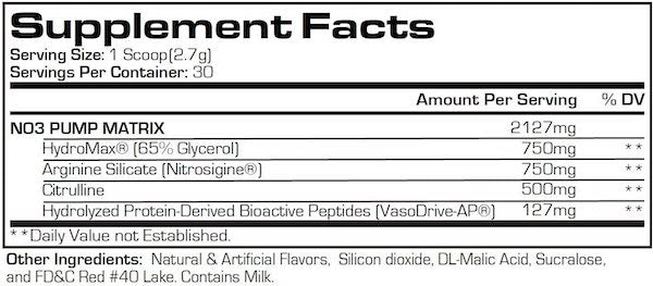 Nutrition Facts For Pro Supps No3 Drive Pump Powder