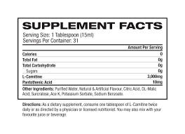 Nutrition Facts For Pro Supps Liquid Carnitine 1500 473ml