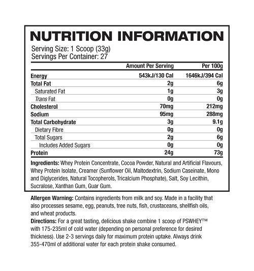 Nutrition Facts For Pro Supps Whey Protein 5lb
