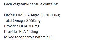 Nutrition Facts For Clinicians Pure Omega-3 from Algae Oil