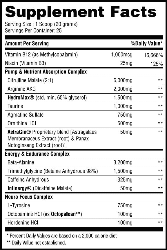 Nutrition Facts For Purge Sports Pre V2 25 Serves