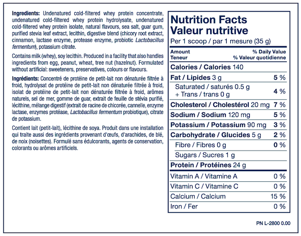 Nutrition Facts For PVL Grass Fed 100% Sports Whey Protein 5lb