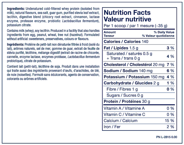 Nutrition Facts For PVL Grass Fed Sports Isolate Whey 2lb