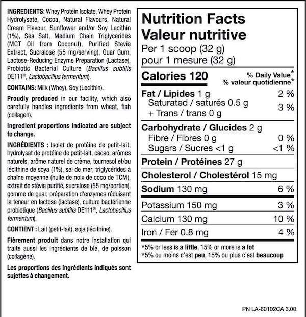Nutrition Facts For PVL ISOGOLD - Premium Isolate Protein 5lb