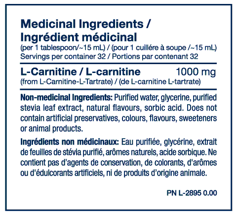Nutrition Facts For PVL L Carnitine Liquid 32 serve