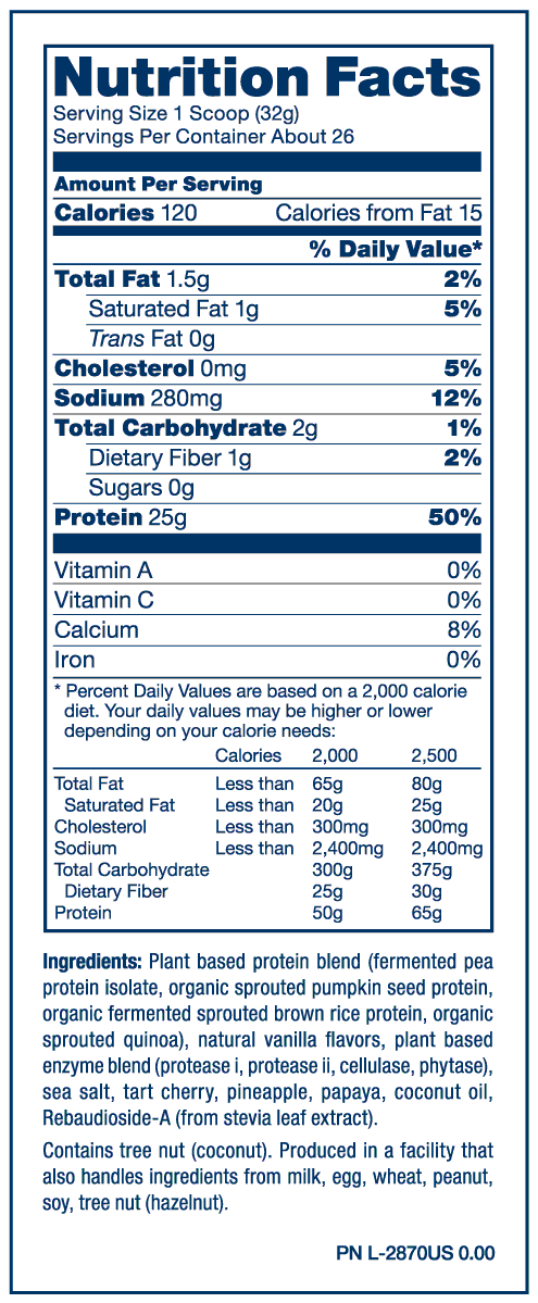 Nutrition Facts For PVL Plant Protein 1.85lb