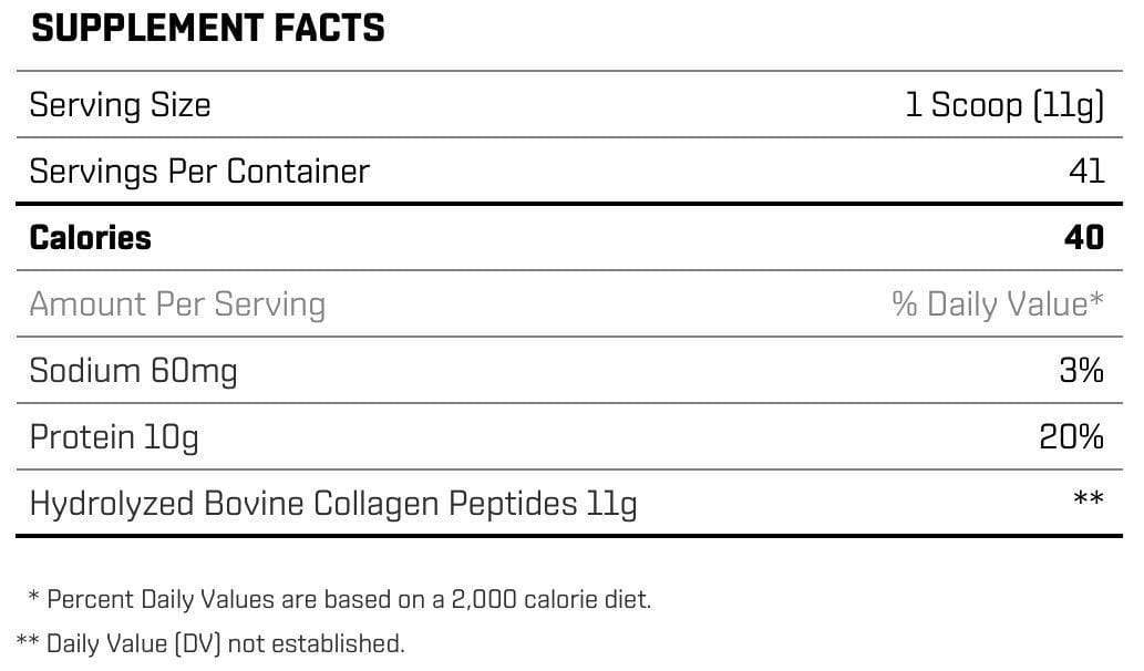 Nutrition Facts For R3P Life Collagen Peptides