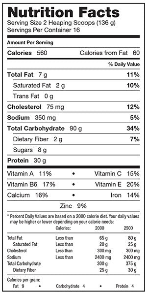Nutrition Facts For Rivalus Clean Gainer 5lb
