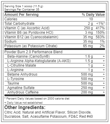 Nutrition Facts For Rivalus Powder Burn 2.0 Pre Workout
