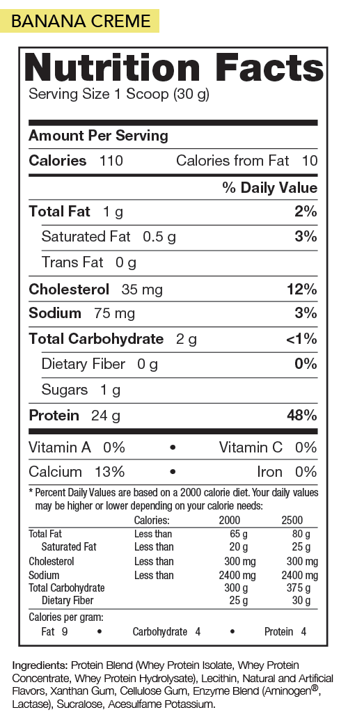 Nutrition Facts For Rivalus Rival Whey Protein 5lb
