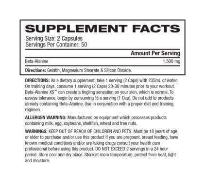 Nutrition Facts For Ronnie Coleman Beta Alanine 100 Caps