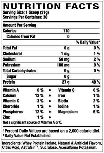 Nutrition Facts For Ronnie Coleman Iso Tropic Max 3.3lb