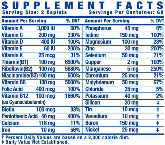 Nutrition Facts For Ronnie Coleman Vita XS Multivitamin 120 Caps