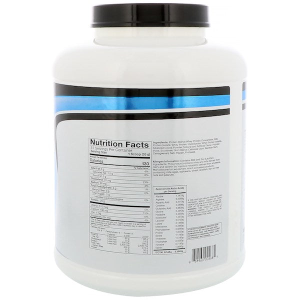 Nutrition Facts For RSP Nutrition Whey Protein 1.8kg