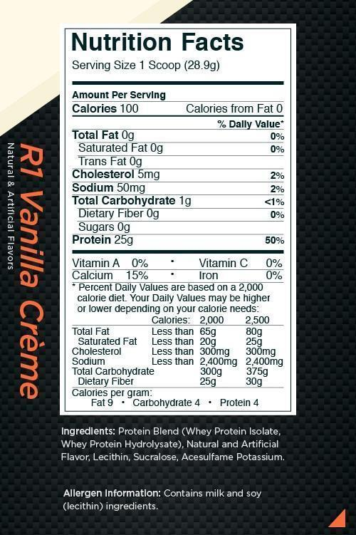 Nutrition Facts For Rule 1 Isolate Protein 5lb