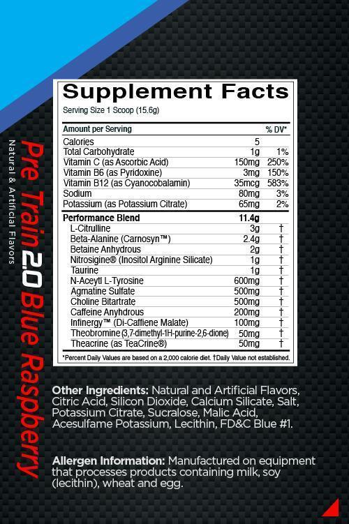 Nutrition Facts For Rule 1 Pre Train 2.0