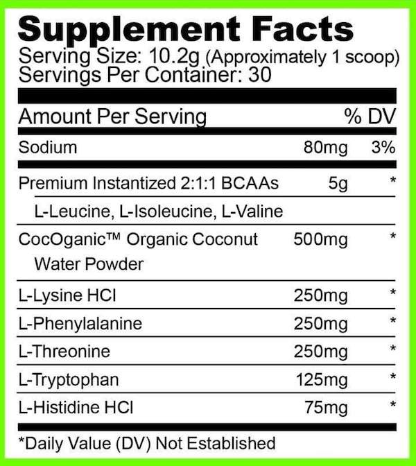 Nutrition Facts For Ryse BCAA + EAA