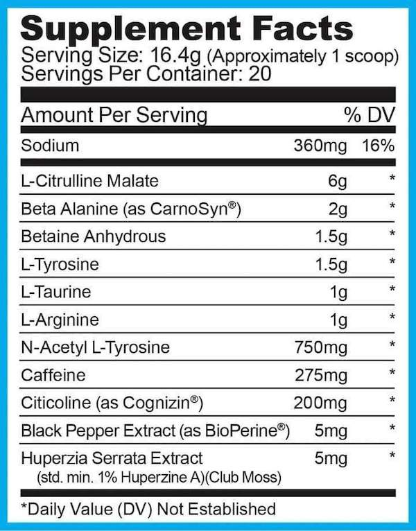 Nutrition Facts For Ryse Pre-Workout