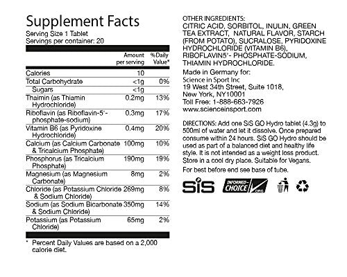 Nutrition Facts For SiS Go Hydro + Caffeine 8 Pack Cola