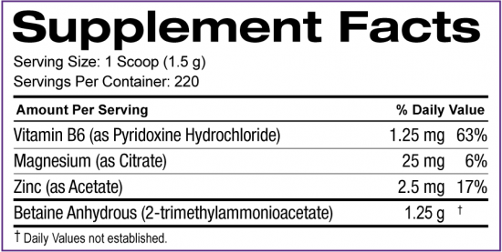 Nutrition Facts For SD Pharmaceuticals Betaine 330g