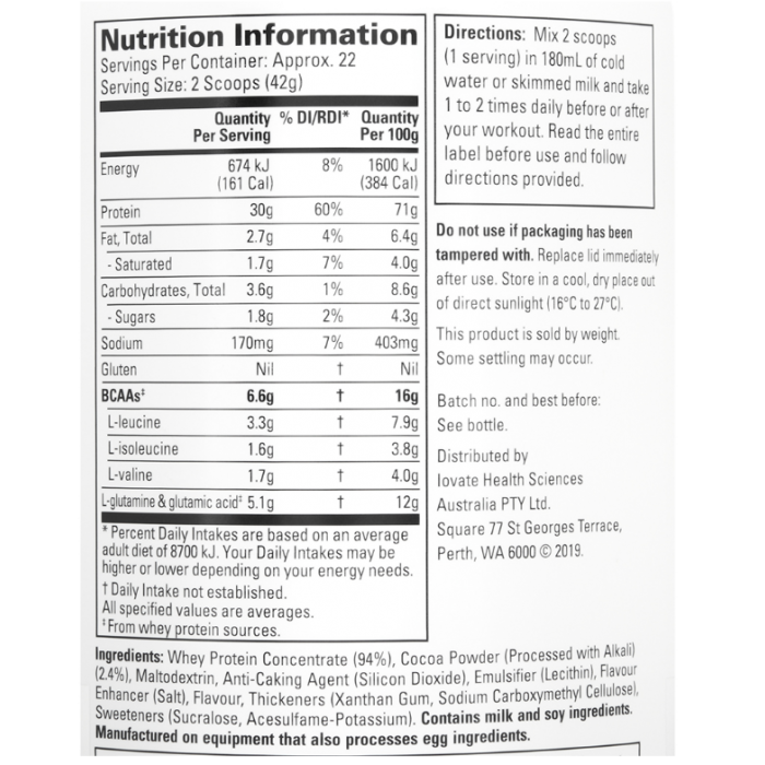 Nutrition Facts For Sixstar Protein Powder