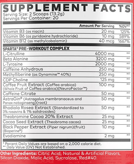 Nutrition Facts For Sparta Nutrition Pre-Workout 40 Serve