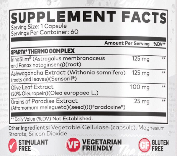Nutrition Facts For Sparta Nutrition Thermo Fat Burner - Non Stim 60 Vege Caps