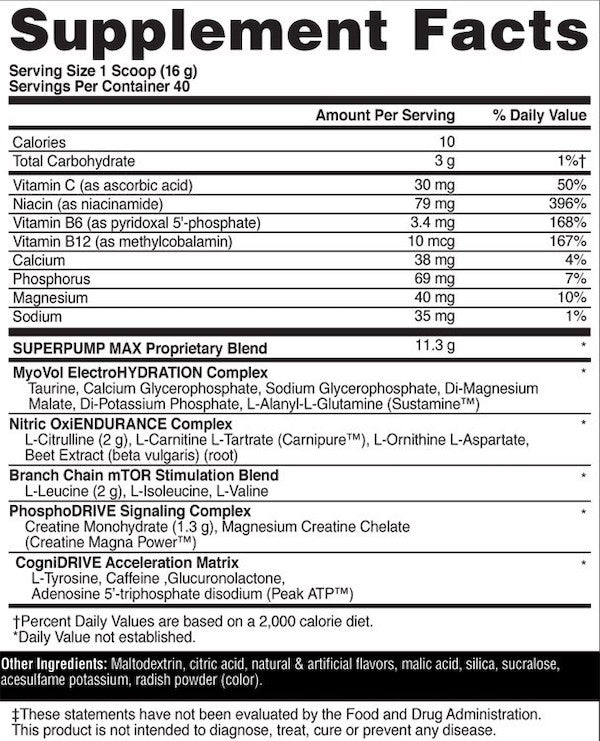 Nutrition Facts For Gaspari Super Pump Max 40 Serve