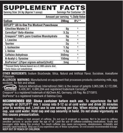 Nutrition Facts For Nutrex Outlift Pre Workout 500g