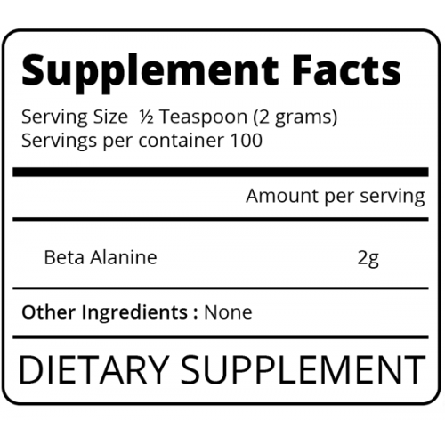 Nutrition Facts For Eat Me Beta Alanine 200g