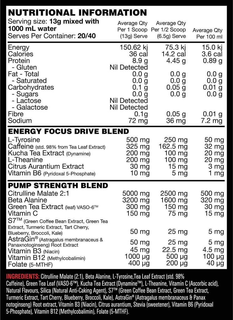 Nutrition Facts For Switch Nutrition Power Switch 40 serve