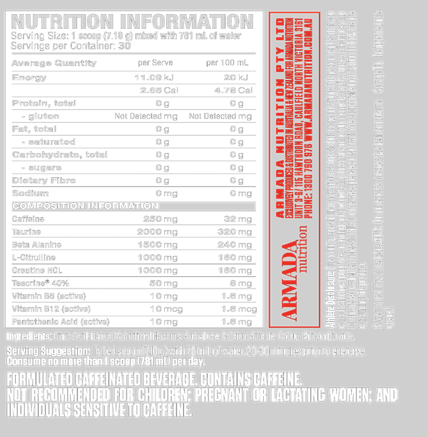 Nutrition Facts For Titan Pre-Workout 30 Serve