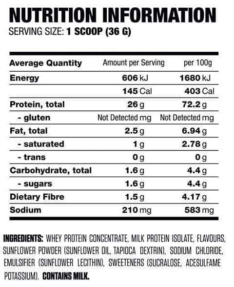 Nutrition Facts For Titan Protein Thick Shake Series 2lb