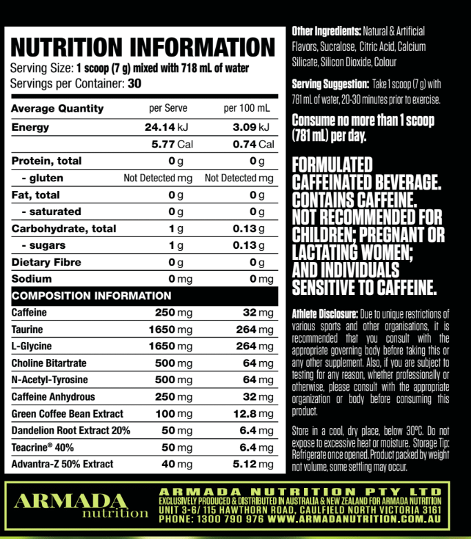 Nutrition Facts For Titan Shred Fat Burner