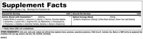 Nutrition Facts For Universal Animal Spiked Aminos 210g