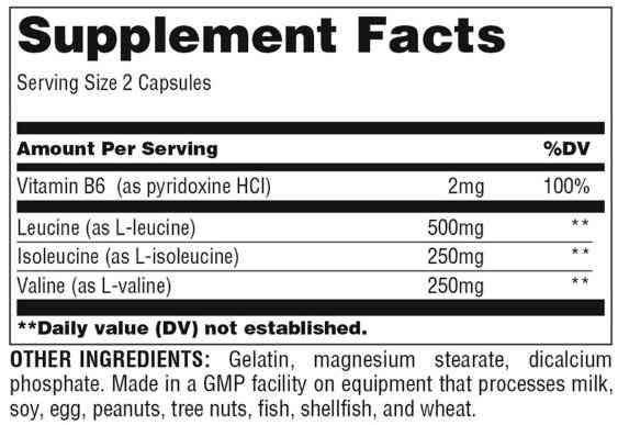 Nutrition Facts For Universal BCAA Pro 100 Tabs