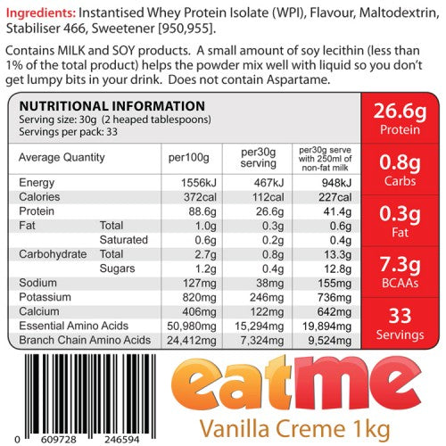 Nutrition Facts For Eat Me Lean Shake 1kg