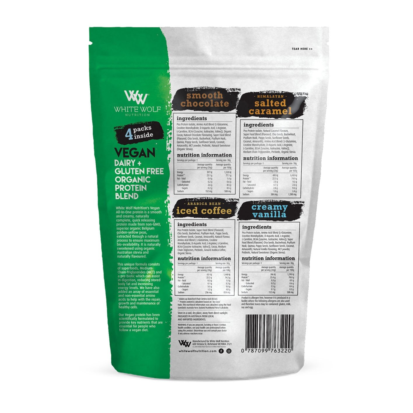 Nutrition Facts For White Wolf Nutrition Vegan All In One Protein Trial Pack