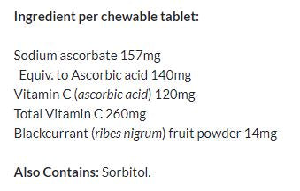 Nutrition Facts For Go Kids Vitamin C 260mg 60 Caps