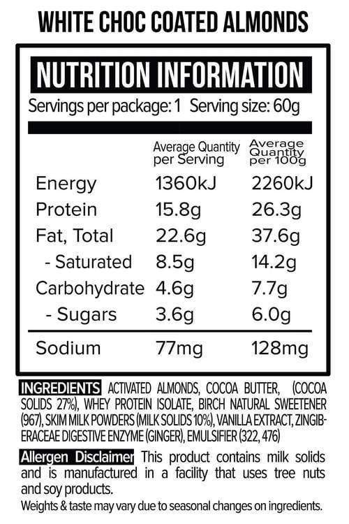 Nutrition Facts For Vitawerx White Chocolate Coated Almonds 10 Box