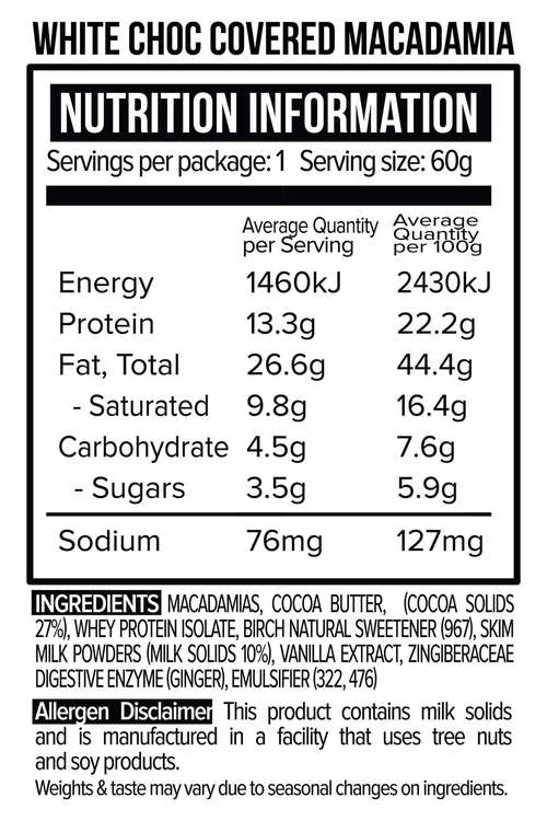 Nutrition Facts For Vitawerx White Chocolate Coated Macadamias 10 Box