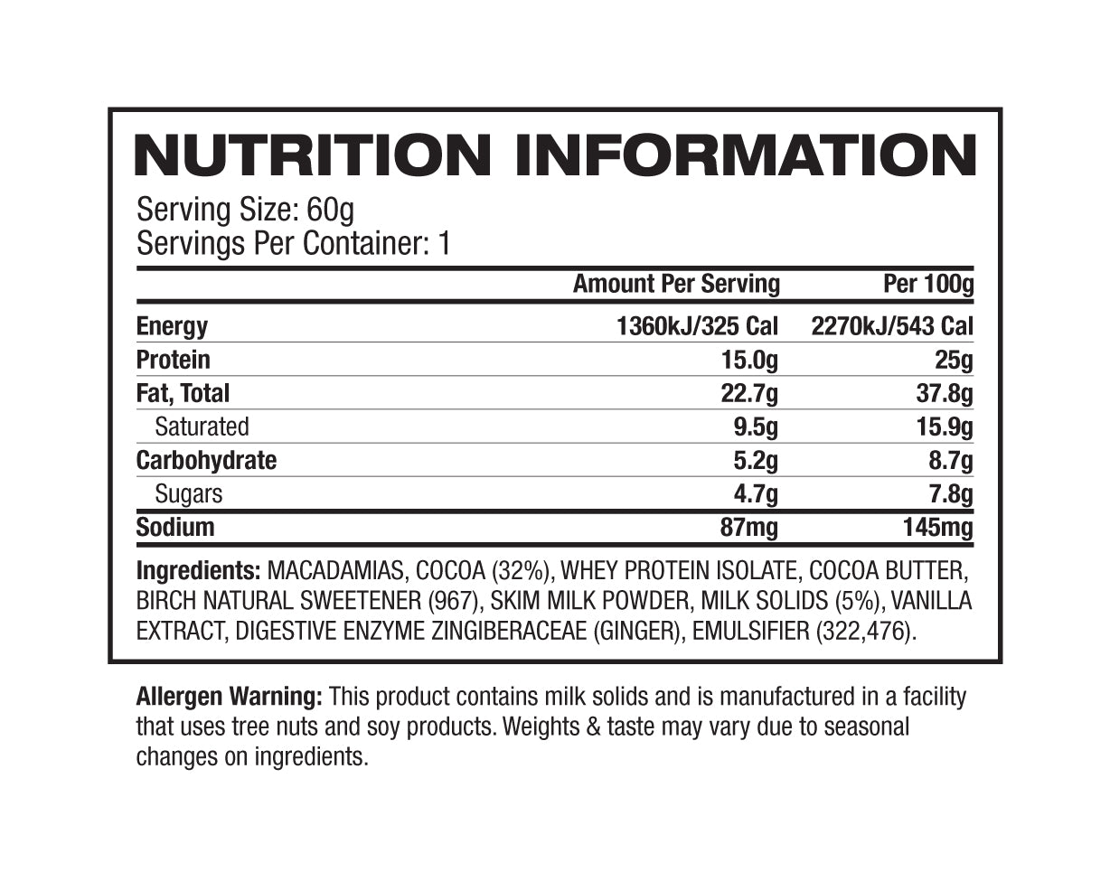 Nutrition Facts For Vitawerx Chocolate Coated Macadamias