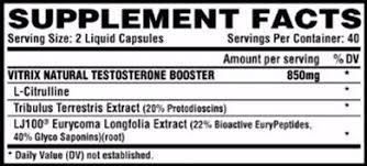 Nutrition Facts For Nutrex Vitrix Test Booster 80 Caps